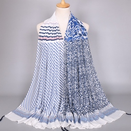 Ericdress High Quality Blue Stripe Women's Scarf