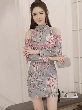 Ericdress Tassel Patchwork Stand Collar Platinum Plated Print Bodycon Dress