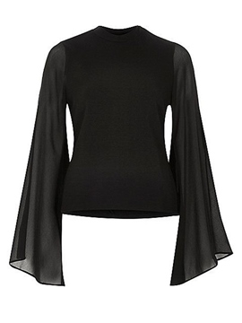 Ericdress Black Extra Long Flare Sleeve Blouse