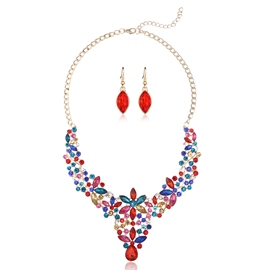Ericdress Artificial Gemstones Inlaid Flower Jewelry Set