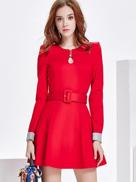 Ericdress Christmas Hole Round Collar Belt Pleated Casual Dress