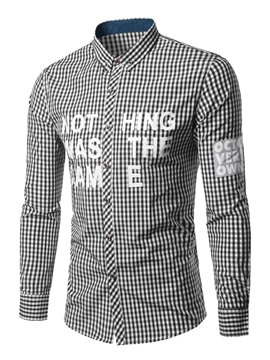 Ericdress Letter Print Grid Long Sleeve Men's Shirt