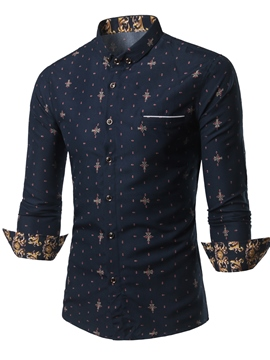 Ericdress Button Down Long Sleeve Print Casual Men's Shirt