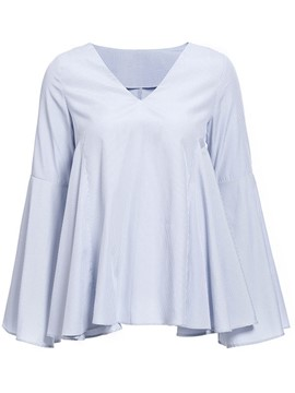 Ericdress Fine Stripe Flare Sleeve Pleated Blouse