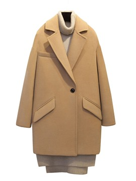 Ericdress Loose Polo Pocket Solid Color Coat