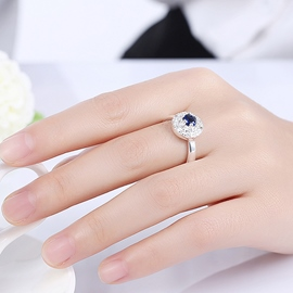 Ericdress Round Blue Zircon Silver Plated Ring