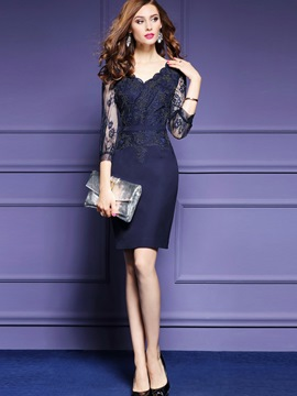 Ericdress Wave Cut Appliques V-Neck See-Through Nine Points Sleeve Lace Dress