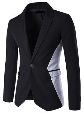 Ericdress Vogue Color Block Slim Men's Blazer