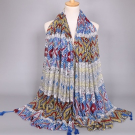 Ericdress Colorful Geometric Printed Scarf with Tassels