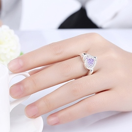 Ericdress Purple Zircon Inlaid Heart-Shaped Ring