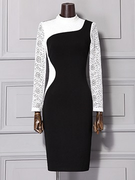 Ericdress Cowl-Neck Color Block Floral Sheath Dress
