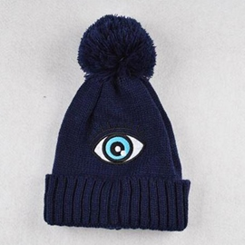 Ericdress Eye Embroidery Blue Knitted Hat
