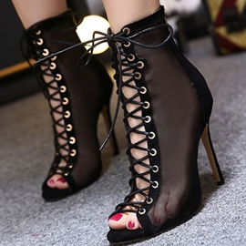 Ericdress Sexy Mesh Lace up High Top Stiletto Sandals