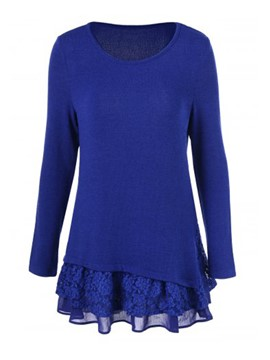 Ericdress Blue Mesh Patchwork Knitwear