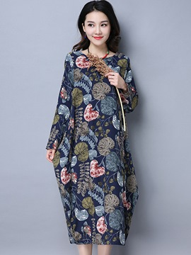 Ericdress Round Collar Print Bud Loose Maxi Dress