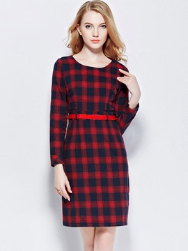 Ericdress Christmas Plaid Round Collar Belt Above Knee Casual Dress