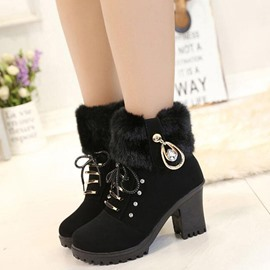 Ericdress Suede Round Toe Lace up Martin Boots