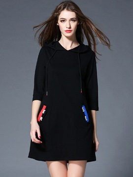 Ericdress Letter Print Pocket V-Neck Casual Dress