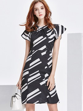 Ericdress Cowl-Neck Pleated Geometric Print Patchwork Casual Dress