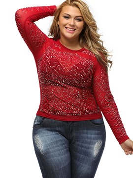 Ericdress Plus Size Diamonds T-Shirt
