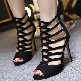 Ericdress Sexy Suede Cut Out Peep Toe Stiletto Sandals