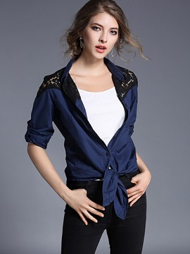 Ericdress Blue Lace Patchwork Single-Breasted Blouse