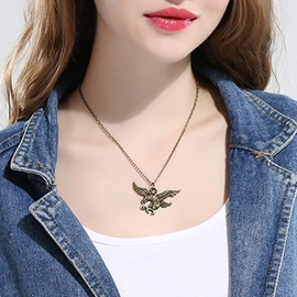 Ericdress Punk Style Bronze Eagle Pendant Necklace