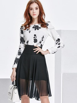 Ericdress Floral Embroidery Long Sleeve Pleated Skirt Suit