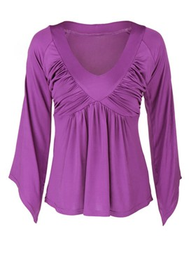 Ericdress Pleated V-Neck Purple T-Shirt