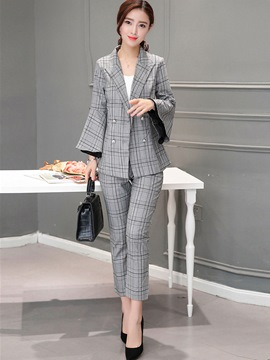 Ericdress Stripe Notched Lapel Double-Breasted Formal Suit