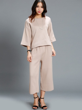 Ericdress Solid Color Scoop Wide Legs Pants Suit