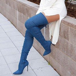 Ericdress Basic Style Dark Blue Pointed Toe Stiletto Heel Over the Knee Denim Boots