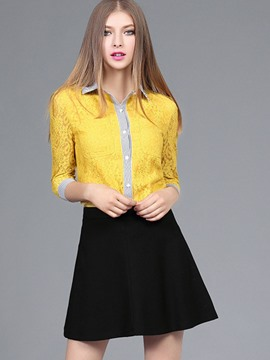 Ericdress Lapel Single-Breasted Lace Hollow Mini Skirt Suit