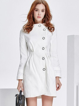 Ericdress Solid Color Single-Breasted Pleated Trench Coat