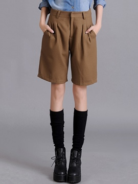 Ericdress Solid Color Pleated Zipper Thick Shorts