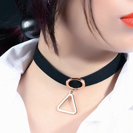 Ericdress Triangle Copper Pendant Velvet Choker Necklace