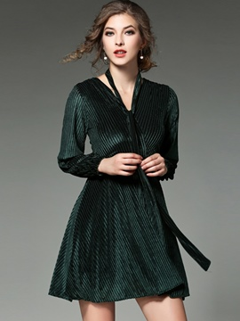 Ericdress Strip Embossing Cross V-Neck Pleated Lace-Up Casual Dress