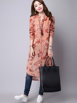 Ericdress Simple Floral Print Single-Breasted Stand Collar Maxi Dress