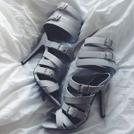Light Gray Strappy Buckles Sandals