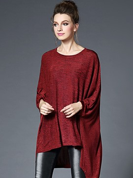 Ericdress Burgundy Asymmetric Pleated Batwing Sleeve Knitwear