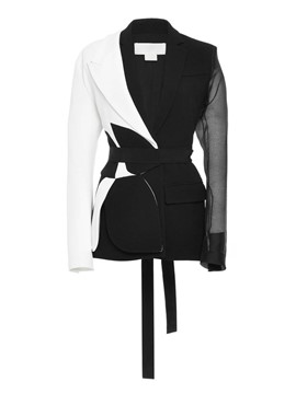 Ericdress Color Block Asymmetric Belt Blazer