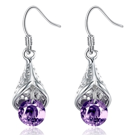 Ericdress Purple Zircon Mosaic Water Droplets Earrings