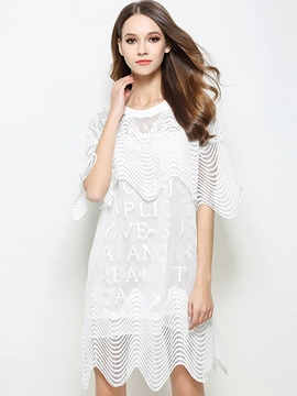 Ericdress Wave Cut Asymmetric See-Through Round Collar Patchwork Loose Lace Dress