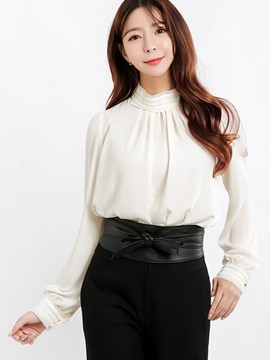 Ericdress White Turtle Neck Pleated Blouse