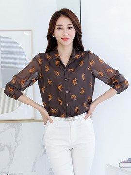 Ericdress Single-Breasted Printed Chiffon Blouse