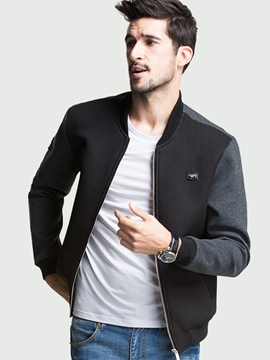Ericdress Color Block Patchwork Stand Collar Zip Casual Men's Jacket