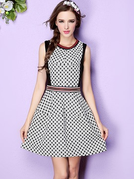 Ericdress Strip Patchwork Polka Dots Pleated Casual Dress