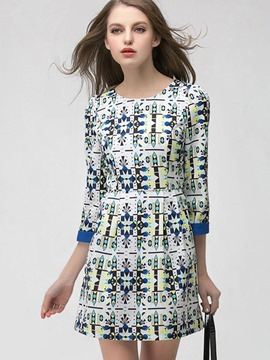 Ericdress Geometric Print Round Collar Patchwork Casual Dress