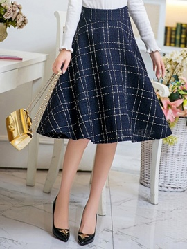 Ericdress Plaid Print Pleated High-Waist A-Line Skirt