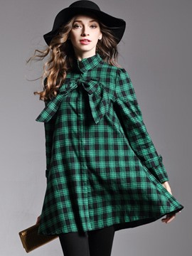 Ericdress Loose Lace-Up Plaid Coat